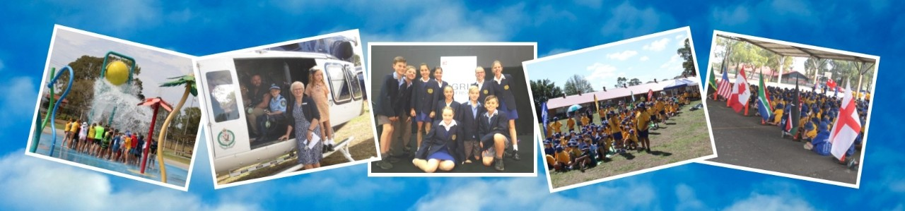 Our banner contains 5 images of activities at Panania Public School including students at our swimming carnival, Mrs Palmer with Finn before his helicopter flight, student leaders at a GRIP conference, students readying for our cross country carnival and country flags displayed at our Commonwealth Games Day.